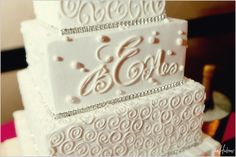 Cake with rhinestones and monogrammed initials - Photo by Jason