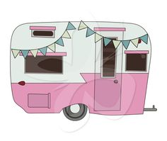 Retro Caravan Digital Clip Art Clipart Set por CollectiveCreation