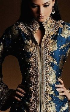 Ink blue and gold embroidered jacket-lehenga; a unique and elegant look for an Indian bride.