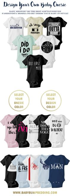 Are you a fashionista momma-to-be? Dress your baby in style with these adorable onesies. Looking for the perfect baby shower gift? These custom onesies make the best baby shower gift ever! Customize a cute and trendy onesie by selecting your favorite vin Best Baby Shower Gifts, Baby Gifts, Custom Baby Onesies, Baby Shower Dresses, Baby Bedding Sets, Everything Baby, Baby Love, Baby Baby, Baby Gear