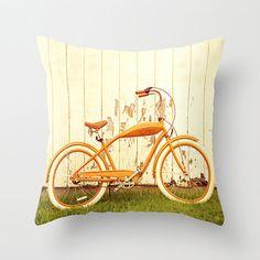 Pillow Cover Bike Pillow Orange Pillow Bicycle Pillow Decoration 16 x 16. $37.00, via Etsy.
