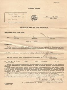 Original draft notice from WW2. Registration was required of all men between the ages of 18 to 64. In the massive draft of WW2, 50 million men were registered, 36 million classified, and 10 million inducted.