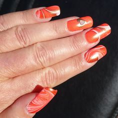 Nailways: HOE MAAK JE? ORANJE GOUDEN NAGELLAK WATERMARBLE NAGELS OP SOAK OFF GEL Nails, Blog, Beauty, Finger Nails, Ongles, Blogging, Beauty Illustration, Nail, Nail Manicure
