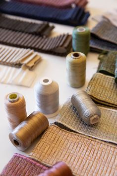 Behind-the-scenes during the development of the Merengue Pleated Metallic Border by Lori Weitzner for Samuel & Sons. Samuel And Sons, Tassel Curtains, Passementerie, Drapery Hardware, Home Interior, Design Process, Color Trends, Window Treatments, Upholstery