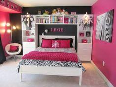 habitacion pintada de rosa y negro