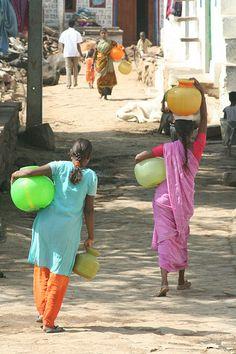 Taking water back to the village, Karnataka - India.