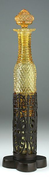 c.1870 Tall Amber Cut Glass Scent Perfume Bottle in Pierced Metal Stand.