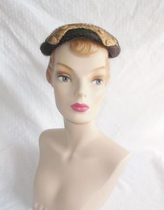 1950's Vintage Neutral Colors Straw Hat with by MyVintageHatShop