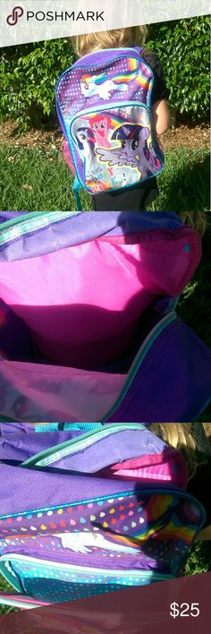 SOLD My Little Pony Large Backpack Gently used My Little Pony pink purple blue large backpack. Accessories Bags