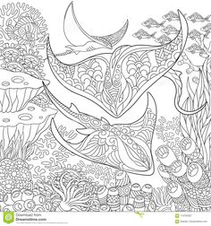 Underwater background with stingray shoal, tropical fishes and ocean plants. Antistress freehand sketch drawing with doodle and zentangle elements - buy this vector on Shutterstock & find other images. Paisley Doodle, Shark Coloring Pages, Coloring Book Pages, Fox Coloring Page, Underwater Background, Zen Colors, Doodle Art Journals, Tropical Fish, Zentangles