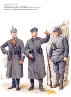 German uniforms from the western front 1917, the lobster armor on the right was worn by machine gunners but was usually discarded due to its  weight