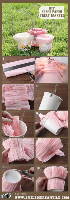These crepe paper Easter baskets are lovely, and make sweet packages for gifts or favors. This simple DIY craft tutorial is great for adults & kids. Spring Crafts, Holiday Crafts, Creative Crafts, Diy And Crafts, Papier Diy, Diy Ostern, Basket Decoration, Diy Decoration, Diy Wedding Decorations