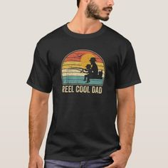 Reel Cool Dad  Vintage Fisherman Father's Day Gift T-Shirt  surf fishing, ice fishing lure, girl fishing quotes #fishingtips #hayabusafishing #fishinghook Easy Costumes, Fishing T Shirts, Happy Campers, Skateboarding, Tshirt Colors, Funny Tshirts, Shirt Style, Shirt Designs, Mens Tops