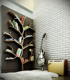 Living room bookcase designs and decorating ideas in modern house: Awesome Interior Design Unique Bookcase In Living Room With White Exposed Brick Wall ~ olpos.com Living Room Inspiration