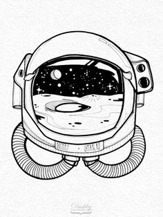 sticker design by #dushky for #umanshop | #illustration #marker #sticker #design #space #universe #astronaut #helmet #moon