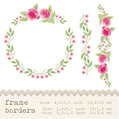 Welcome to my shop :) Beautiful floral frame with roses and 2 borders, perfect as a part of your graphic design, wedding invitations, greeting
