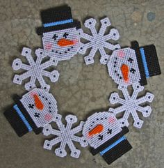 Plastic Canvas-Snowman Wreath