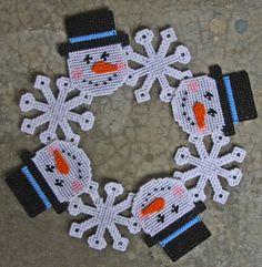 Plastic Canvas-Snowman Wreath