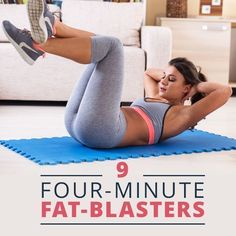 Use these 9 Four-Minute Fat Blasters when you are short on time and still want a fat burning workout! Fit Girl Motivation, Weight Loss Motivation, Fitness Motivation, 4 Minute Workout, Butt Workout, Yoga, Fat Blaster, Sport Treiben, Lower Ab Workouts