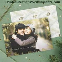 Make your first married Christmas card special with this Evergreen Photo Holiday Card featuring your favorite photo and an evergreen background with touches of gold foil.  This and many more Christmas cards available at http://printedcreations.occasions-sa.com/Holiday/Newlywed-Designs/index.cat.  #photochristmascards  #photoholidaycards