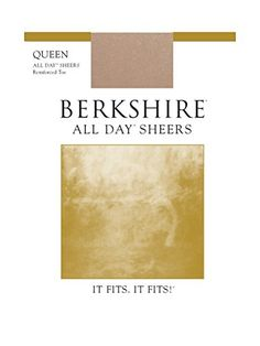 Berkshire Womens PlusSize Queen All Day Sheer NonControl Top Pantyhose  Reinforced Toe Nude 3X4X *** Read more reviews of the product by visiting the link on the image.
