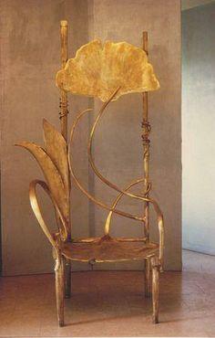 Art Nouveau ginkgo leaf chair in gold.