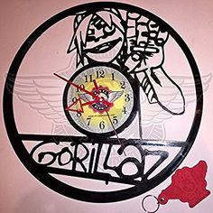 VINYL WALL CLOCK GORILLAZ 2 Buy Vinyl, Record Art, Gorillaz, Wall Clocks, Art Projects, Ideas Para, Handmade Gifts, Vintage, Amazon