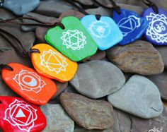 Items similar to Set of 7 Hand Painted Chakra Stone Necklaces on Leather String, Chakra Jewelry, Mind-Body-Spirit Jewelry, Yoga Jewelry on Etsy Pebble Painting, Pebble Art, Stone Painting, Rock Crafts, Arts And Crafts, Chakra Jewelry, Yoga Jewelry, Chakra Art, Chakra Healing