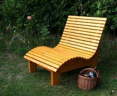 Woodini Mia Relax Gartenbank - 120 cm Extra breit für 2 Personen, 2-fach geölt im Farbton Kiefer, wird per Spedition geliefert.