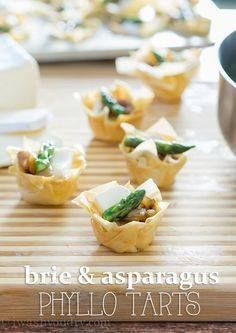 Brie and Asparagus P Brie and Asparagus Phyllo Tarts - classy...  Brie and Asparagus P Brie and Asparagus Phyllo Tarts - classy appetizer thats what. Great for appetizers lunch and brunch! Recipe : ift.tt/1hGiZgA And My Pinteresting Life | Recipes, Desserts, DIY, Healthy snacks, Cooking tips, Clean eating, ,home dec  ift.tt/2v8iUYW