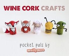Wine Cork Crafts - set of five animals - mollymoo.ie – Wine Cork Crafts: Pocket Pals These are adorable, but I'm not sure I'm this - Crafts For Teens, Diy For Kids, Diy And Crafts, Craft Projects, Crafts For Kids, Craft Ideas, Craft Tutorials, Diy Ideas, Decor Ideas