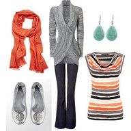 Nice sweater, nice striped shirt, nice scarf, and hooray for flat shoes.