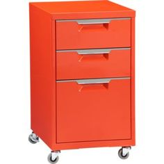 TPS bright orange file cabinet in office furniture | CB2