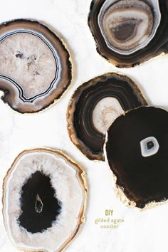DIY gilded agate coasters: http://www.stylemepretty.com/living/2015/12/09/diy-gilded-agate-coasters/