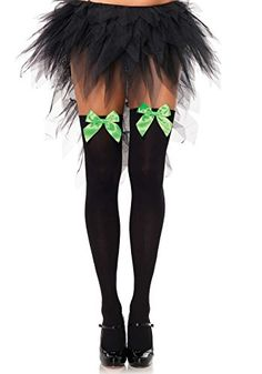 a962e46f821c0 Leg Avenue Womens Opaque Thigh High Hosiery with Satin Bow BlackGreen One  Size ***