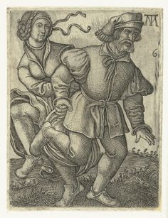 Dansend boerenpaar, Monogrammist MT, 1542