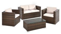CB Imports Steel Framed Rattan Sofa Set, 4 Pieces, Brown >>> Want to know more, click on the image. #GardenFurnitureandAccessories
