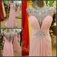 Lovely Pink Crystal Beadings Evening Dress 2017 Long Chiffon