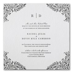 Exquisite Flourish - Invitation. Available to order at Persnickety Invitation Studio.