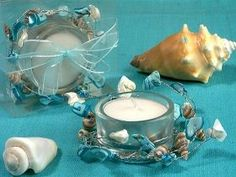 Unique Beach Candle Holder - These Unique Beach Candle Holders will make great favors for your beach themed wedding. These candle holders feature blue and natural seashells. Beach Wedding Reception, Beach Wedding Favors, Unique Wedding Favors, Bridal Shower Favors, Wedding Reception Decorations, Wedding Ideas, Beach Weddings, Wedding Stuff, Dream Wedding