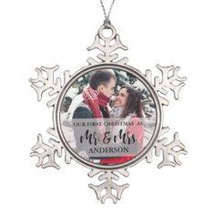 #photo - #First Christmas as Mr & Mrs Keepsake Snowflake Pewter Christmas Ornament
