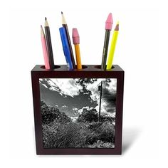 DYLAN SEIBOLD - PHOTOGRAPHY - UTILITY POLE MOUNTAIN - Tile #Pen Holders #gifts  by 3dRose LLC  Link: