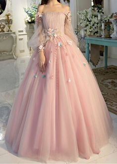 pretty dresses Off-the-shoulder wedding dress long sleeves Prom Dresses Unique Prom Dress Long Evening Dresses strapless party dress - shuiruyan Prom Dresses Long With Sleeves, Unique Prom Dresses, Long Wedding Dresses, Formal Evening Dresses, Ball Dresses, Pretty Dresses, Tulle Wedding, Ball Gowns Prom, Evening Gowns With Sleeves