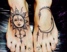 aztec sun & moon tattoos for girls
