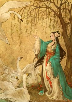 """Wild Swans by Hans Christian Andersen ~  Obsidian.  """"The Wild Swans"""" is a literary fairy tale by Hans Christian Andersen about a princess who rescues her eleven brothers from a spell cast by an evil queen."""