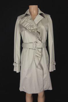 MONCLER New Olympe Jacket Size 2 M Medium Khaki Cotton Ruffle Trench Rare! $1200 #Moncler #Trench