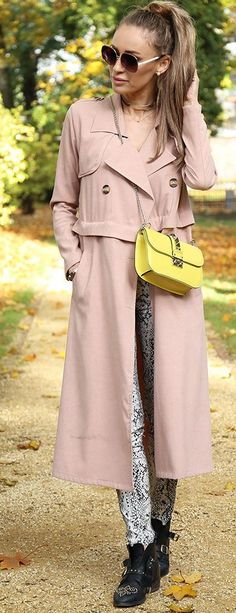 Pink Trench Fall Streetstyle Inspo by Fashion Spot