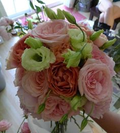 Pink garden roses and Lisanthus bouquet