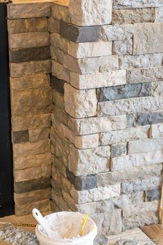 Excellent Photo Fireplace Remodel airstone Concepts Family Room Makeover Part AirStone Fireplace Makeover Airstone Fireplace, Stone Fireplace Makeover, Fireplace Doors, Fireplace Hearth, Home Fireplace, Fireplace Remodel, Living Room With Fireplace, Fireplace Surrounds, Fireplace Design