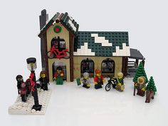 Winter Village Bicycle Shop | This set was created for the E… | Flickr Lego Christmas Sets, Lego Christmas Village, Lego Winter Village, Lego Village, Christmas Villages, Lego Gingerbread House, Shop Lego, Lego Mindstorms, Lego Blocks